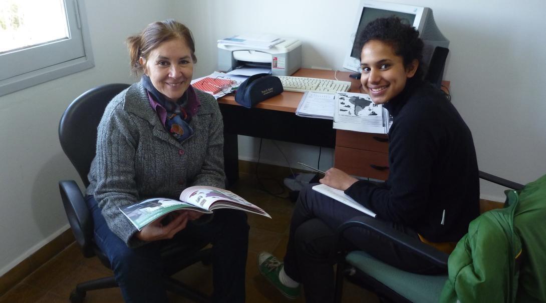High school Special volunteer learn Spanish during her volunteer work with children in Argentina.